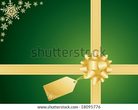 Christmas background with bow and snowflake detail