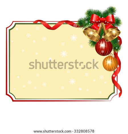 Christmas background with branches of spruce with decorative elements. Vector illustration