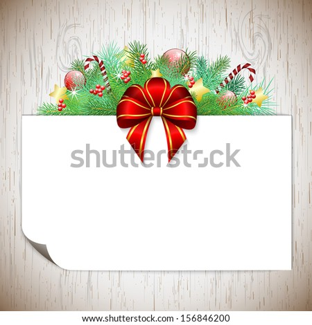 Christmas background with branches, ribbon and decorations, with wood texture, vector illustration, eps 10, with transparency - stock vector