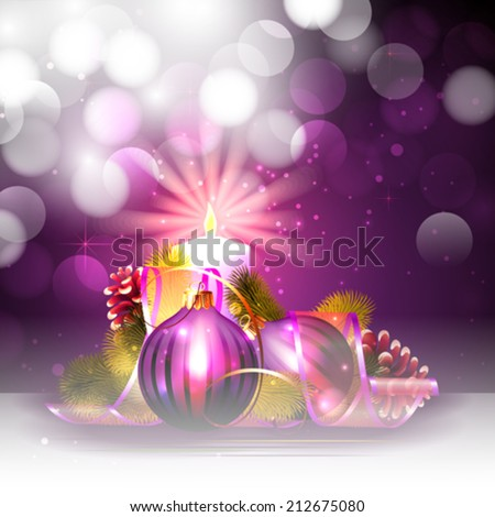 Christmas background with candle light - stock vector