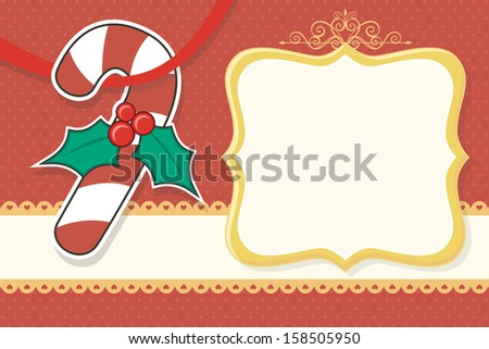 christmas background with candy cane and blank frame, ideal for xmas card or scrapbook - stock vector