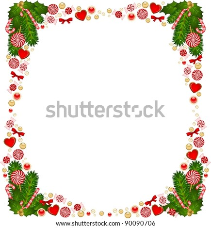 Christmas background with Candy cane. Vector