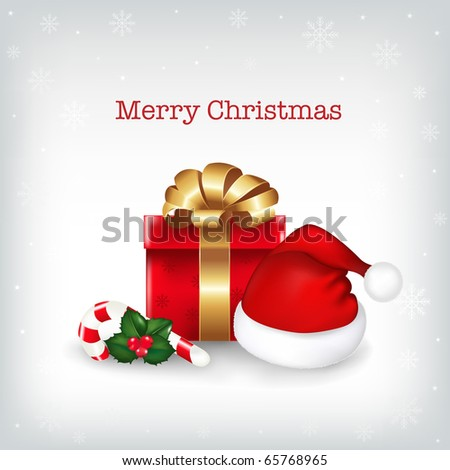 Christmas Background With Cap Of Santa Claus, Gift And Sugar Candies, Vector Illustration - stock vector