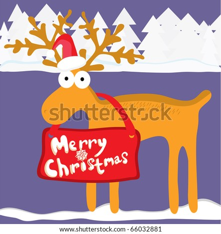 Christmas background with cartoon reindeer - stock vector