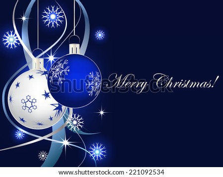 Christmas background with christmas ball, ribbons and snowflakes/vector illustration - stock vector