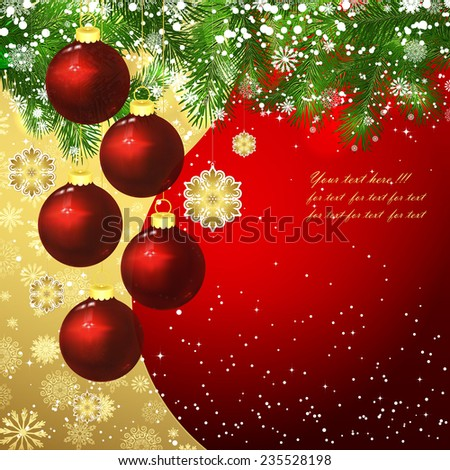 Christmas background with Christmas balls. - stock vector