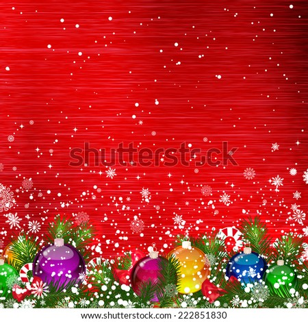 Christmas background with Christmas branches decorated with glass balls - stock vector
