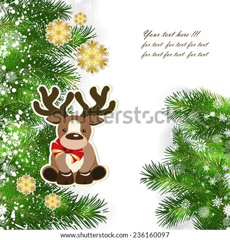 Christmas background with Christmas decor and green branches of Christmas tree.