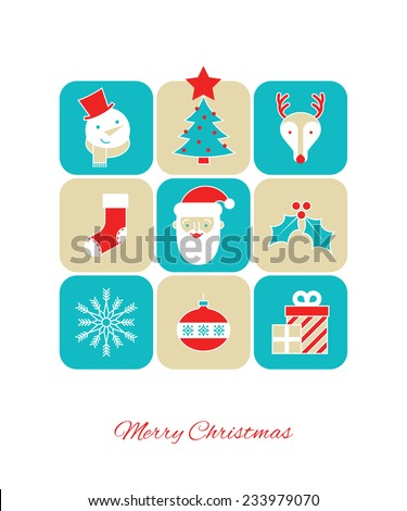 Christmas background with Christmas icons. - stock vector