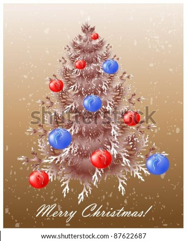 Christmas background with christmas tree. - stock vector