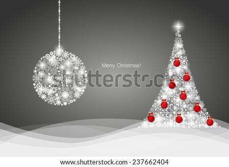 Christmas background with Christmas tree and Christmas ball, vector illustration. - stock vector
