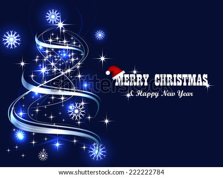 Christmas background with christmas tree and decoration  - stock vector
