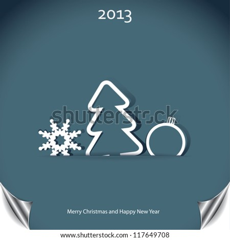 Christmas background with christmas tree and snowflake - stock vector
