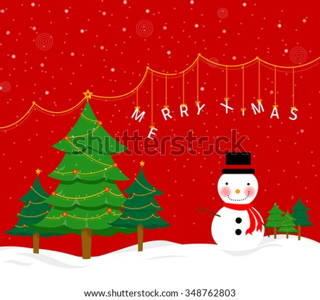 Christmas background with Christmas tree and Snowman