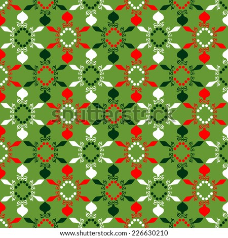 Christmas background- with christmas tree balls, seamless tiling, great choice for wrapping paper pattern  - stock vector