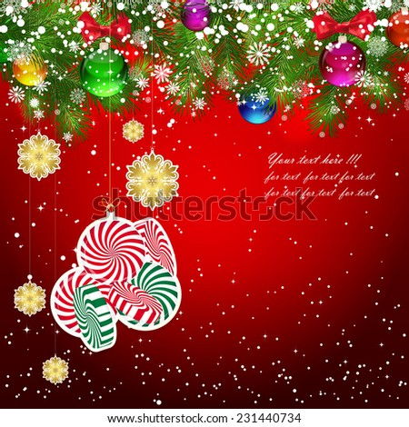 Christmas background with Christmas tree branches decorated with glass balls and toys. - stock vector