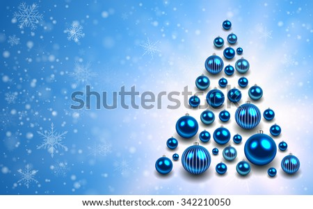 Christmas background with christmas tree from shiny balls. Vector illustration. - stock vector