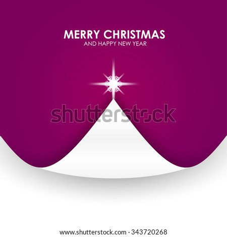 Christmas background with Christmas tree paper flap violet. Vector Illustration - stock vector
