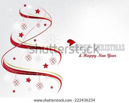Christmas background with christmas tree, stars, snowflakes and christmas balls/vector illustration - stock vector
