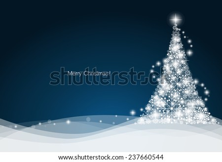 Christmas background with Christmas tree, vector illustration. - stock vector
