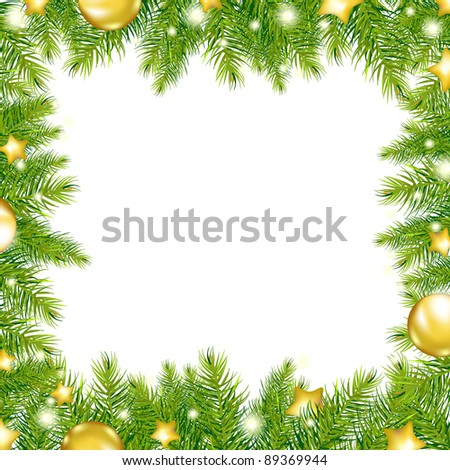 Christmas Background With Christmas Tree, Vector Illustration - stock vector