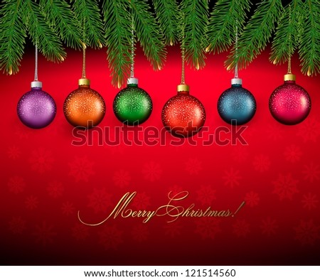 Christmas background with color balls and fir branches  Vector illustration - stock vector