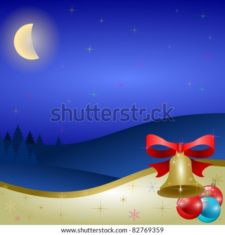 christmas background with color decorations, bell and snowflakes - stock vector