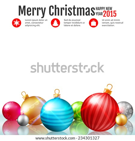 Christmas background with colorful baubles