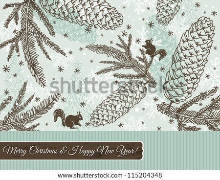 christmas background with cone, squirrel and snowflakes, vector illustration
