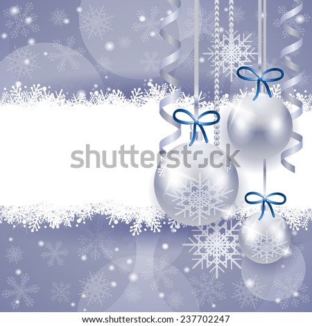 Christmas background with copy space, in silver. Vector eps 10