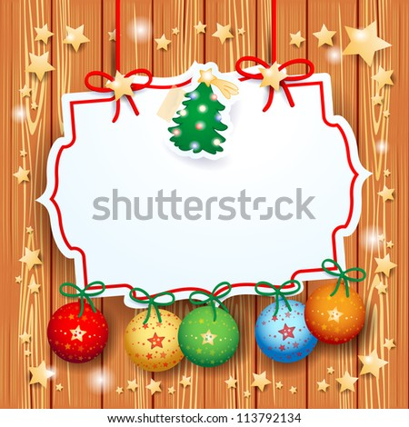 Christmas background with custom label, vector - stock vector