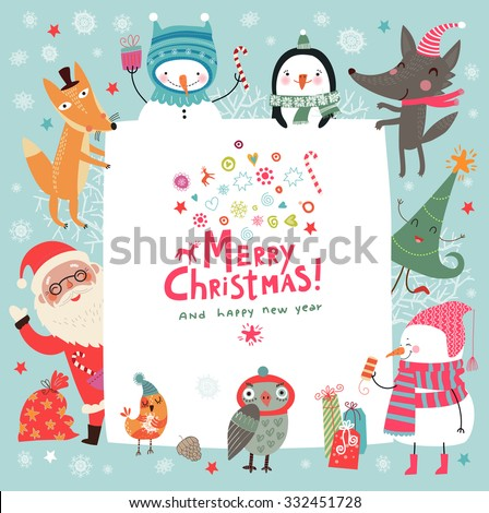 Christmas background with cute characters - stock vector