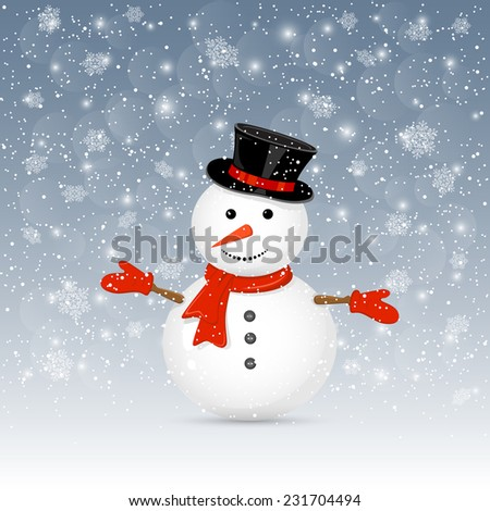 Christmas background with cute snowman and snowfall, illustration.
