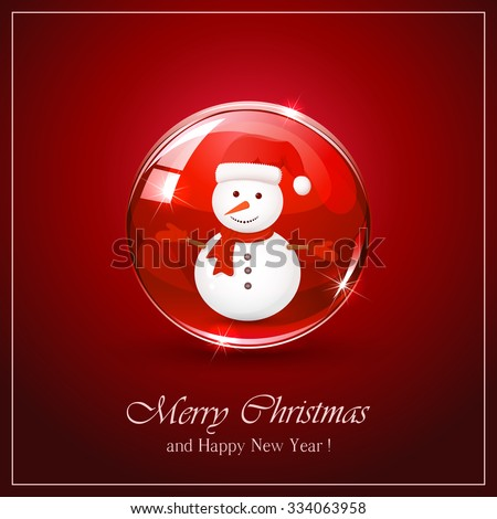 Christmas background with cute snowman in red sphere, illustration. - stock vector