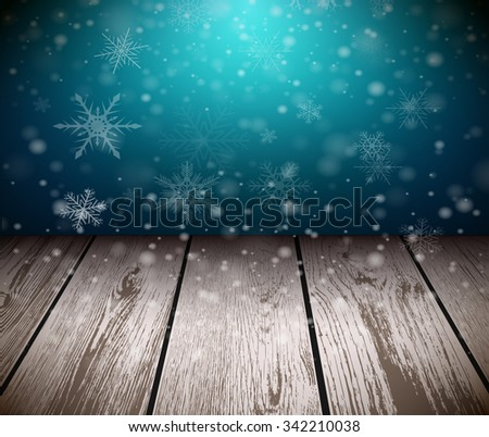 Christmas  background with 3D wooden floor and snowing background. Vector illustration.  - stock vector