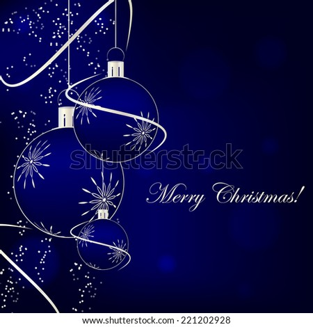 Christmas background with decoration and christmas ball/vector illustration - stock vector