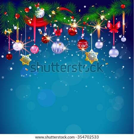 Christmas background with decoration. Blue winter festive card with place for text. Christmas design for card, banner,ticket, leaflet and so on.