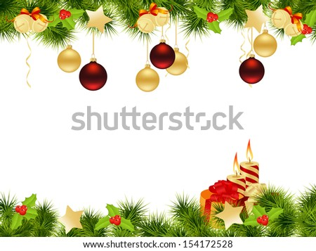 Christmas background with decorations and candles. Vector illustration. - stock vector