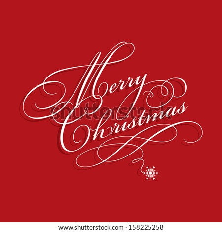 Christmas background with decorative text - stock vector