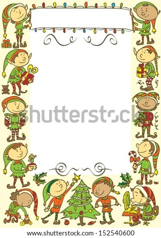 Christmas background with elves - stock vector