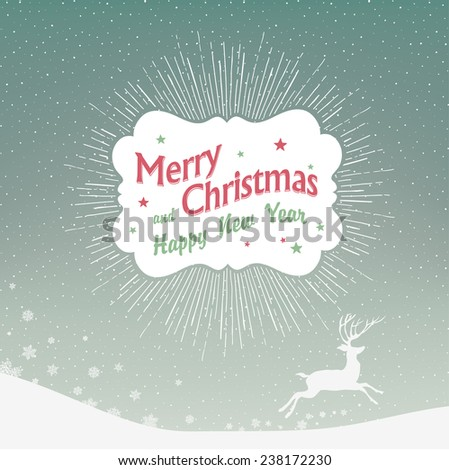 Christmas Background with Falling Snow and Deer Silhouette - stock vector
