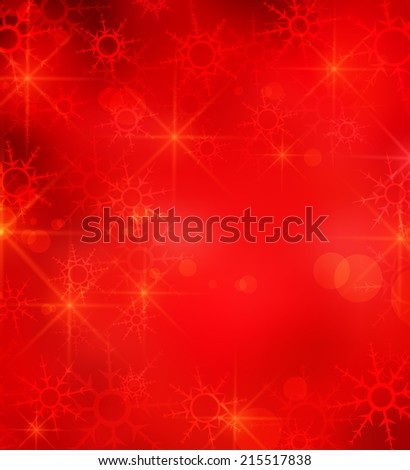 Christmas background with falling snow and stars - stock vector