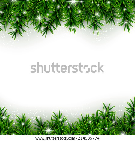 Christmas background with fir and stars. Vector illustration.  - stock vector
