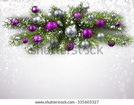 Christmas background with fir branch and balls. Vector illustration.