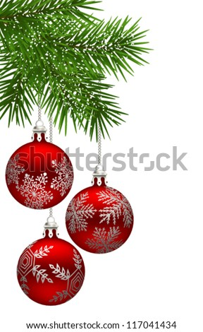 Christmas background with fir branch and red baubles - stock vector