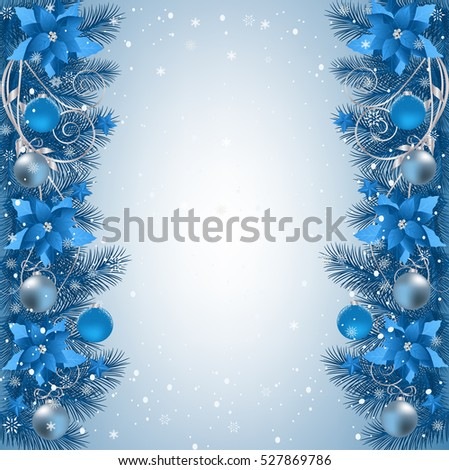 Christmas Background With Fir Branch Border Ribbons And Decorations