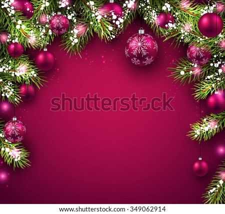 Christmas background with fir branches and balls. Vector illustration. - stock vector