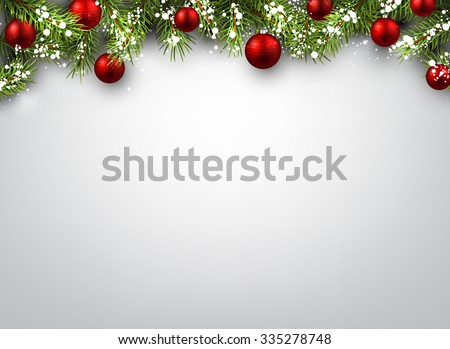 Christmas background with fir branches and red balls. Vector illustration. - stock vector