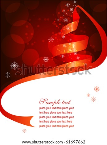 Christmas background with fir made of ribbon - stock vector