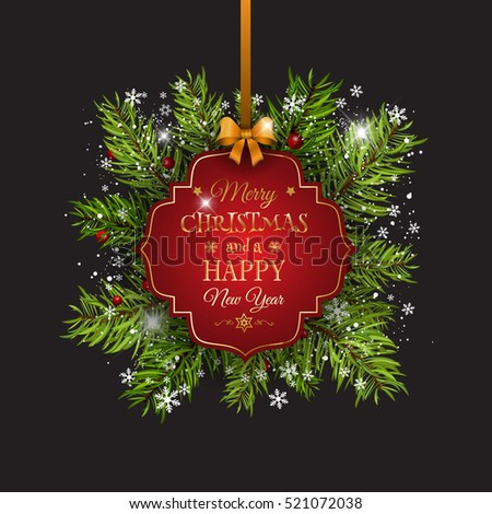 Christmas background with fir tree branches, ribbon and decorative label